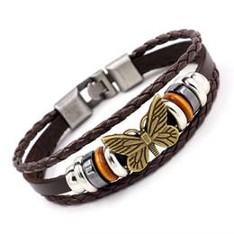 Wholesale Fashion Jewelry Boutiques - Fashion Alloy Beaded Butterfly Bracelets Multilayer Weave Leather Bracelets Bangles Top grade Boutique Women Charm Bracelets Jewelry 2 Color