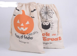 Wholesale Mechanical Spider - Cotton Canvas Halloween Sack Children favor Candy cloth Gift Bag Pumpkin Spider ghost treat or trick Drawstring Bags Party festive Cos props