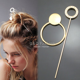 Wholesale Disc Holders - Free shipping Gypsy Hoop Disc Hair Slide Ponytail Bun Holder Pin Clip Head Dress Stick Boho