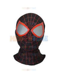 Wholesale Masks Custom - Miles Morales Spiderman Hood Newest 3D Printing Ultimate Miles Morales Spider-man Hoods Mask with Spiderman lenses free shipping