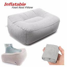 Wholesale train pillows - Wholesale- PVC Gray Train Flight Travel Inflatable Foot Rest Pillow Portable Pad Mat Footrest Pillow Home Outdoor Foot Relief Cushion