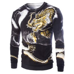 Wholesale korean geometric print sweater - Wholesale-New Fashion Korean Style 2016 High Quality Male Dragon Pattern Printing Pullover Men's Fashion Casual Sweater 2Color M-XXL