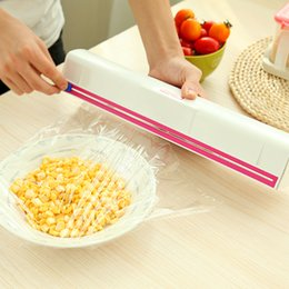 Wholesale Plastic Food Wrap Film - New Arrival Food Plastic Cling Wrap Dispenser Preservative Film Cutter Kitchen Tool Accessories Cooking Tools