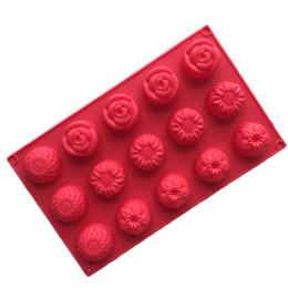 15-cavidade Flores Girassol Geléia Pudim Mould Gelado Molde De Silicone Bolo De Chocolate Soap Mold Livre grátis de Fornecedores de molde de pudim de flores