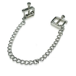 Wholesale adjustable nipple clamps - Stainless Steel Square Adjustable Nipple Clip Clamps Breast Flirt SM Bondage Metal Nipple Chain Chained Sex Toys Women Sex Toys
