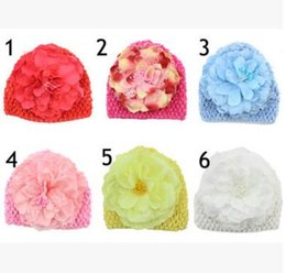 Wholesale Crochet Hats For Newborn Babies - HOT Crochet Toddler Flower Beanie Knitted Crochet Hat Beanie Handmade Cap For Newborn Baby Toddlers Girls Winter Warm Cute Handmade Cap