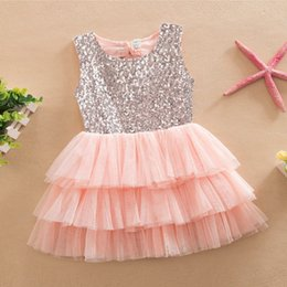 Wholesale Wholesale Cupcake Tutu Dress - 2016 New Summer Baby Girls Dresses Europe Style Fashion Bow Sequin Princess Cupcake Dress Kids Flower Girls Wedding Party Evening Dresses