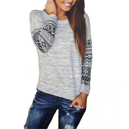Wholesale Long Sleeve Winter Womens Tops - 2017 Fashion Women T-Shirts Plus Size Long Sleeve O Neck Autumn Winter Top Plus Size Print Gray Sexy Casual Womens Clothing