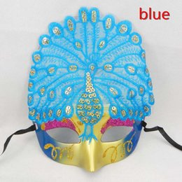 Wholesale Sequin Adult Dance Costumes - On Sale Luxury peacock Mask half face Venetian Masquerade Party Mask Sequin Halloween Costume Carnival Dance Mask mix color free shipping