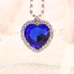 Wholesale Titanic Gifts Free Shipping - Movie Titanic Heart Of The Ocean Necklace Crystal Pendant Necklaces & Pendants Women Jewelry Collares Wholesale Free Shipping 12PCS LOT