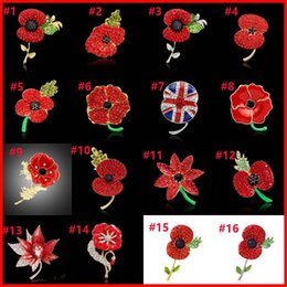 Wholesale Union Pins - 28 Types Crystal Heart Flower Poppy National Flag Union Jack Brooches Pins The British Legion Brooch Corsages for UK Remembrance Day 170268