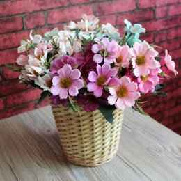 Wholesale 3 Heads Single Sakura Artificial Flower Fake Flower Colourful Oriental cherry for Thanksgiving Birthday Motherday Home Decoration