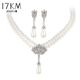 Wholesale Earring Crystal Pearl Bride - 17KM Charming Bride Simulated Pearl Jewelry Set Bling Crystal Water Drop Pendant Necklaces Earring Fashion Jewelry Accessory