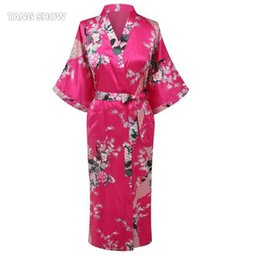 Wholesale Traditional Kimono Robe Women - Wholesale-Stylish Hot Pink Ladies Kimono Yukata Gown Women Silk Satin Robe Summer Casual Nightgown Floral&Peacock S M L XL XXL XXXL