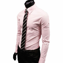 Wholesale Wholesale Luxury Clothing - Wholesale- 2016 men luxury brand shirts Business Casual Long Sleeve Turn-down Collar Candy colors Men Dress Shirt Men Clothes