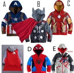 Wholesale Cloak Outerwear - Boys' super hero Character Hoodies with cloak Boys Heroes Alliance iron Man Spider Man The Hulk hooded Jackets Children Outerwear Coat