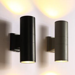 Wholesale Black Metal Lamp Shade - Black LED Outdoor Wall Sconce with Metal Cylinder Shade Modern decor Up Down Dual-Head Wall Lamp Waterproof IP65 6W 10W COB