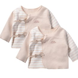 Wholesale Kimono Baby Cotton - 2 Piece Set Unisex-Baby Kimono Tee Baby Nature Colored Cotton Stripe Long Sleeve Tie Round Neck Cardigan Infant Kids Clothing
