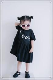 Wholesale Cotton Corduroy Girl Dress - Love Letter Baby Girl Dress European Style Fashion Black Casual Dress Cotton Girls Dress Children Summer Casual Dress