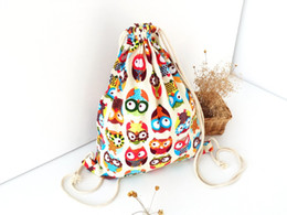 Wholesale Owl Print Fabric - Fashion Adorable Owl Animals Pattern Shopping shoulder Bag High Quality Best Selling Traveling Bag Canvas Fabric Girl Backpack Bag