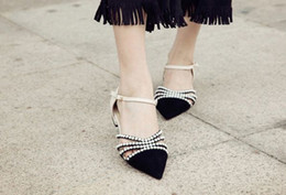 Wholesale Heels Caps - fashionville* u619 34 c genuine leather pointed cap toe pearl straps flats sandals shoes beige luxury designer brand