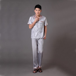 b38fc65a58 Wholesale-New Gray Chinese Men s Satin Robe Bath Gown Summer Short Sleeve  Pajamas Suit Lounge Pyjamas Set Sleepwear S M L XL XXL XXXL