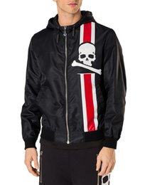 Wholesale Peplum Leather Jacket - 2017 new high-quality cardigan jacket men slim Zip Hoody embroidery Crystal Skull leather patch man skull zipper jacket