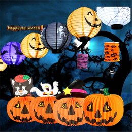 Wholesale Decoration Paper Lanterns - 1pcs Halloween Decoration LED Paper Pumpkin Light Hanging Lantern Lamp Halloween Props Outdoor Party Supplies 0708121
