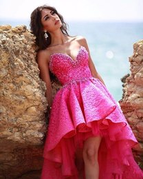 Wholesale Plus Size High Low Shirt - Sexy Hot Pink Beach Prom Dresses Beaded Pearls Lace High Low Prom Dresses 2017 Puffy Hi Lo Homecoming Dress Cocktail Party Gowns Cheap