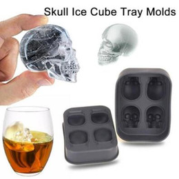 Wholesale Pastry Trays - Skull Shape 3D Ice Cube Mold Maker Bar Party Silicone Trays Halloween Mould Gift Chocolate Decorating Candy Pastry Mould CCA7339 80pcs