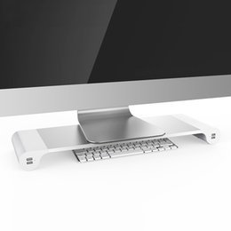 Wholesale Apple Imac Wholesale - Aluminum Alloy Desktop Monitor Stand Space Bar Non-slip Laptop Stand Riser with 4-ports USB charging for iMac, MacBook Pro, Air