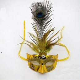 Wholesale Peacock Feather Masquerade Masks - Charm Adult Women Lady Girl Light Up LED Feather Peacock Lace Masquerade Mask Carvival Ball Party Princess Wedding Masks
