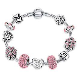 2019 herzförmige glasperlen Vintage Silber Heart-shaped Kristall / Glas Perlen Mode Schöne Charm Pandora Armbänder Armreifen Für Frauen Schmuck Geschenk günstig herzförmige glasperlen