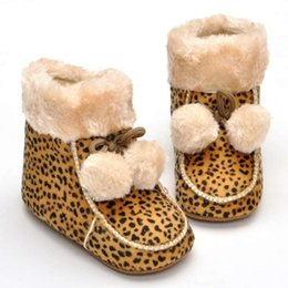 Wholesale Leopard Toddlers Boots - Retail 2016 Winter Warm Newborn Baby Fashion Leopard Cotton Boots With Velvet Infant Boy Girl Anti-Slippery Toddler Baby Shoe Free Shipping