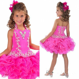 Wholesale Cake Pink Flowers - Glitz Halter Organza Girl's Pageant Dresses With Flowers Princess Backless Short Mini Crystal Ball Gowns Cup Cake Kid Dresses RGB212