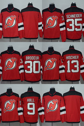 d6035b206 Hot Sale 2017 New Brand Mens New Jersey Devils Blank 9 Taylor Hall 13 Nico  Hischier 30 Martin Brodeur 35 Cory Schneider Red Hockey Jerseys