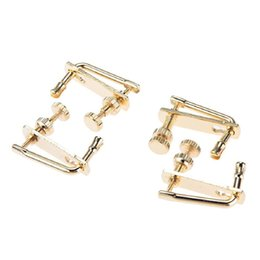 Wholesale Violin Parts - Wholesale-copper Portable durable 4pcs x 4 4 Violin Parts String Adjuster Fine Tuning Professional Gold Free Shipping