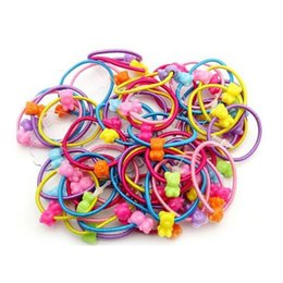 Wholesale Elastic Hair Bands Ball - Wholesale- 50pcs High Quality Carton Round Ball Kids Elastic Hair bands Elastic Hair Tie Children Rubber Hair Band
