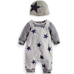 2019 зебры брюки для детей ребенок от 6 м до 3 лет с длинным рукавом star sets, мальчики / девочки весенняя одежда, (шляпа+рубашка+брюки-подтяжки), осенняя бутик-одежда, R1AA802CS-05