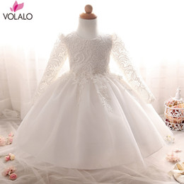 Wholesale Baptism Gowns Wholesale - Wholesale- Infant Girls Baptism Dress Christmas Costumes Baby Girl Princess Dresses 1 Year Birthday Kids Princess Party Dress Girl clothes