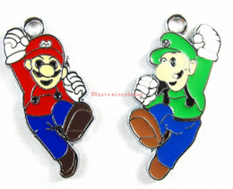 Wholesale Mario Bros Charms Wholesale - Small Sale 100 Pcs lot New Super Mario Bros Metal Charm Pendants DIY Jewelry Making Party Gifts
