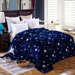 Wholesale star fleece blanket - Wholesale- Bright stars bedspread blanket 200x230cm High Density Super Soft Flannel Blanket to on for the sofa Bed Car Portable Plaids