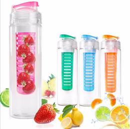 Wholesale Bottle Flip Tops - Sport Tritan Solid Fruit Infuser Water Bottle Flip Top Lid Tritan Cup 27oz 800ml Many Color