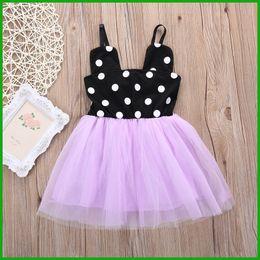 Wholesale Bud Light Dress - 2016 newest summer Purple Minnie Mouse Girls Dresses black white dot decoration princess party children Tutu dresses