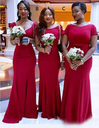 Wholesale wedding dresses pick up style - 2016 New African Maid Of Honor Gowns Red Three Style Mermaid Bridesmaid Dresses For Wedding Floor Length Satin Formal Party Dress