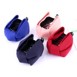 Wholesale Navy Hair Clips - Wholesale-Wedding Solid Cloth Barrette Lady Bowknot Fashion Cute Big Hairpins Gig Bow Hair Clip Women Wholesale Pink Red Blue Navy