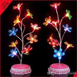 Wholesale Orchid Tree - Crystal Light colorful crystal flower orchid tree USB battery dual luminous blue warm nightlights