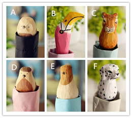 Wholesale Wholesale Wooden Fabrics - Hand-Carved Wooden Cute Animal Windproof Rain and Parasol Folding Women Umbrella