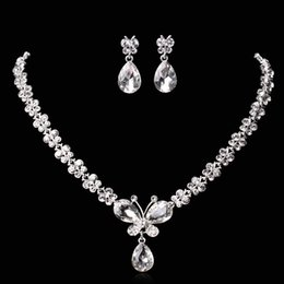 Wholesale Hot Bridal Earrings - Amazing Cheap Butterfly Wedding Jewelry Sets Rhinestones Crystal Bridal Necklace and Earrings Sets For Prom Party Hot Free Shipping 2016
