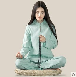 Wholesale Tai Chi Clothing Linen - Wholesale-bamboo Cotton and linen yoga meditation Women long sleeve yoga clothes Tai chi suit